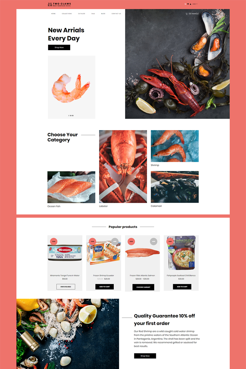 """""""Two Claws - Food Store eCommerce Modern"""" 响应式Shopify模板 #80623"""