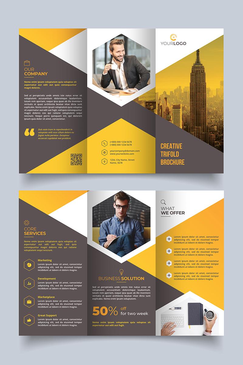 unique trifold brochure hexagon corporate identity