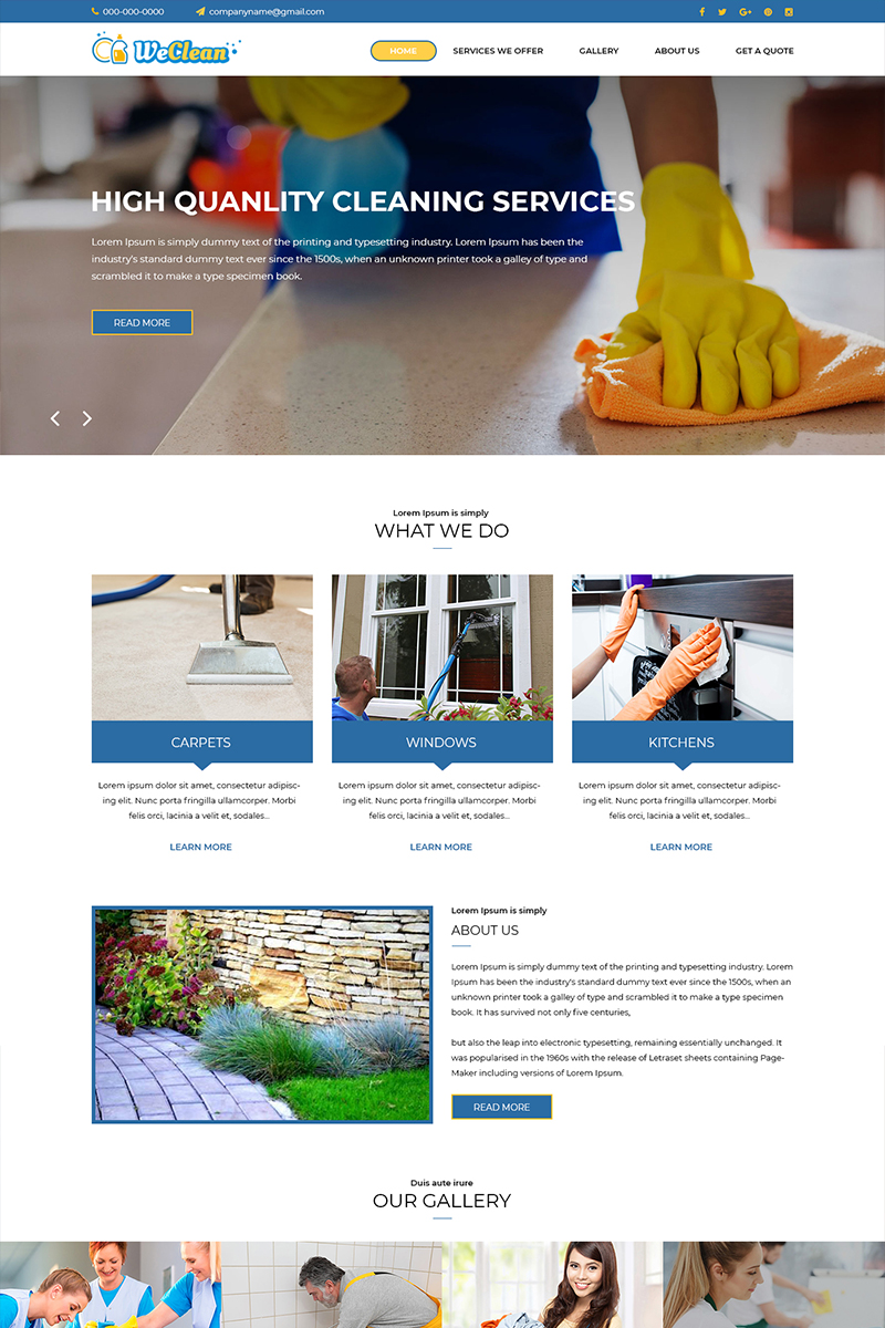Weclean - Cleaning Service PSD Template