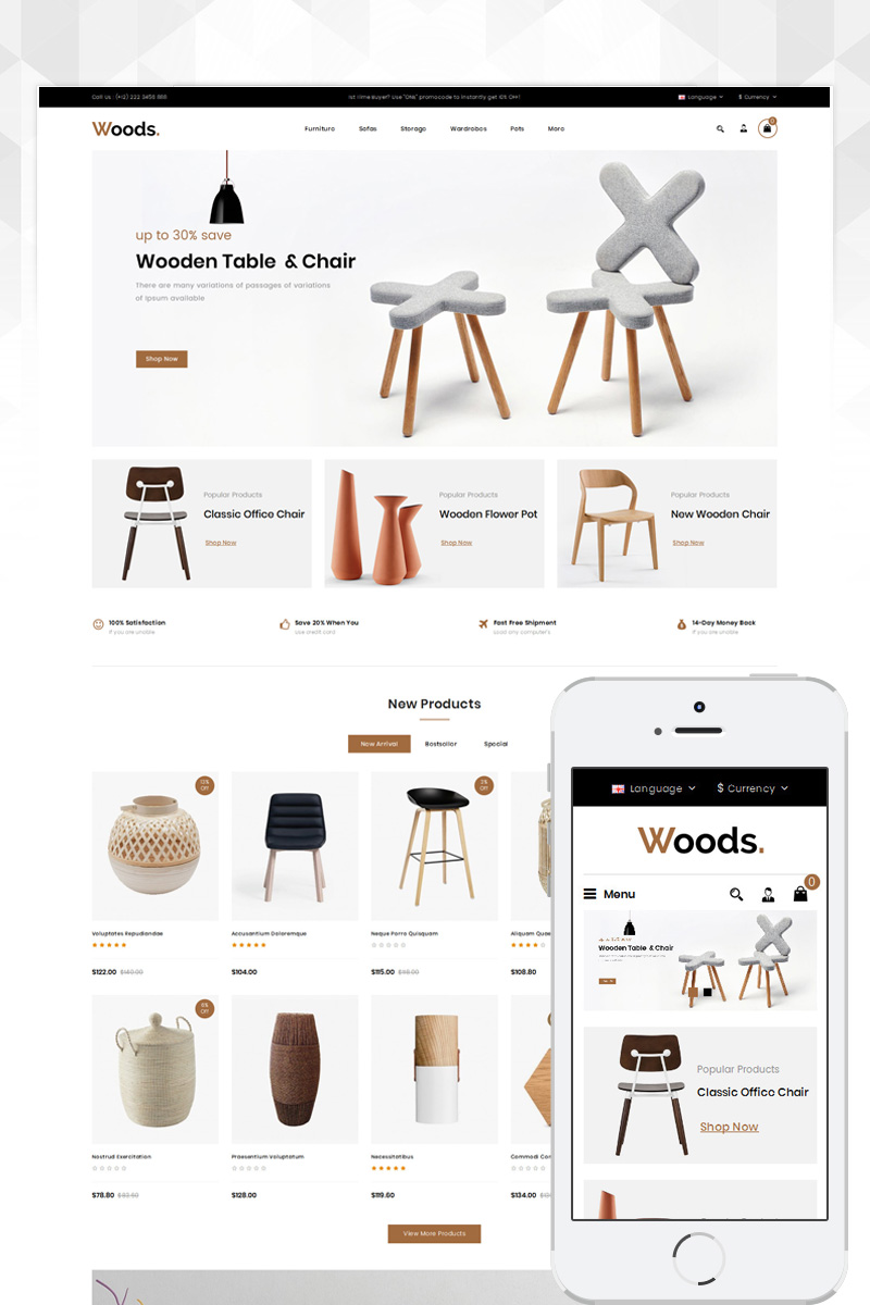 """Woods Furniture Store"" Responsive OpenCart Template №80642"