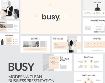 Busy Modern Clean Business PowerPoint Template
