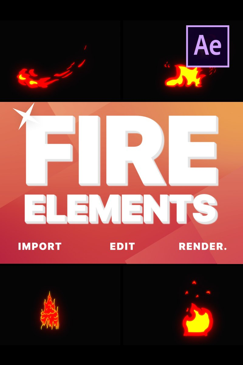 """After Effects Intro """"Cartoon Fire Elements"""" #80781"""