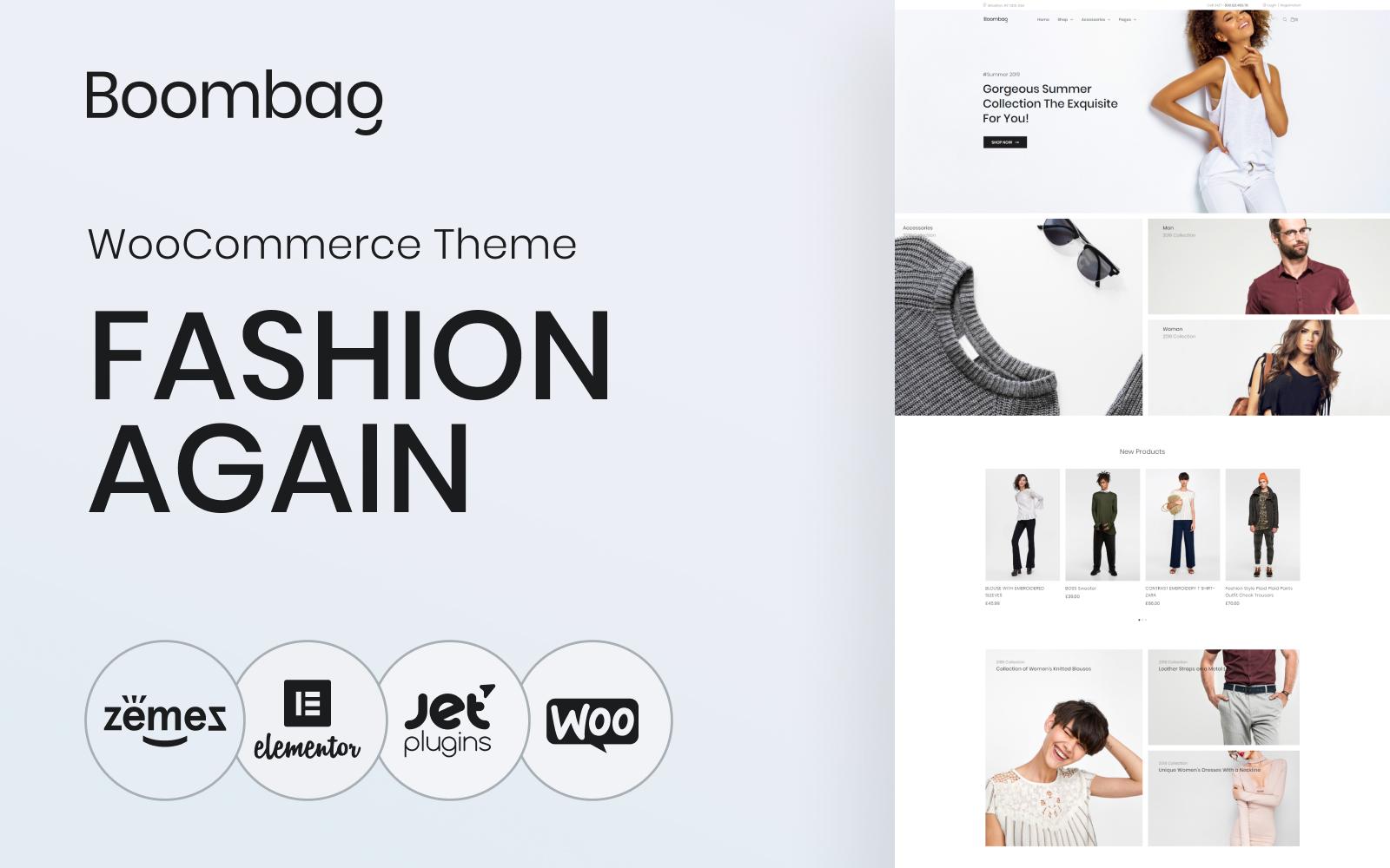 """Boombag - Apparel ECommerce Modern Elementor"" 响应式WooCommerce模板 #80766"