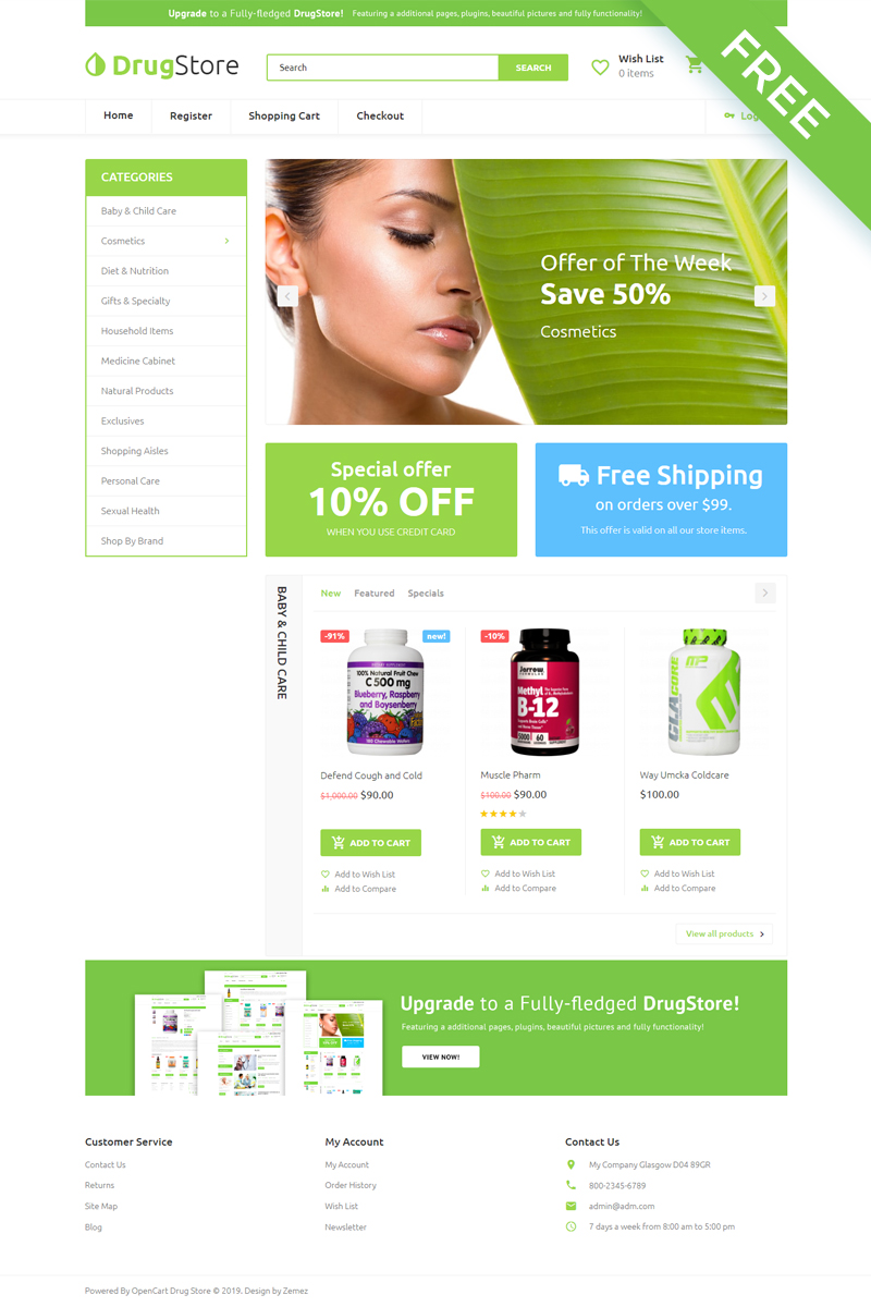 """""""Drug Store - Drug Store Multipage Clean"""" Responsive OpenCart Template №80798"""