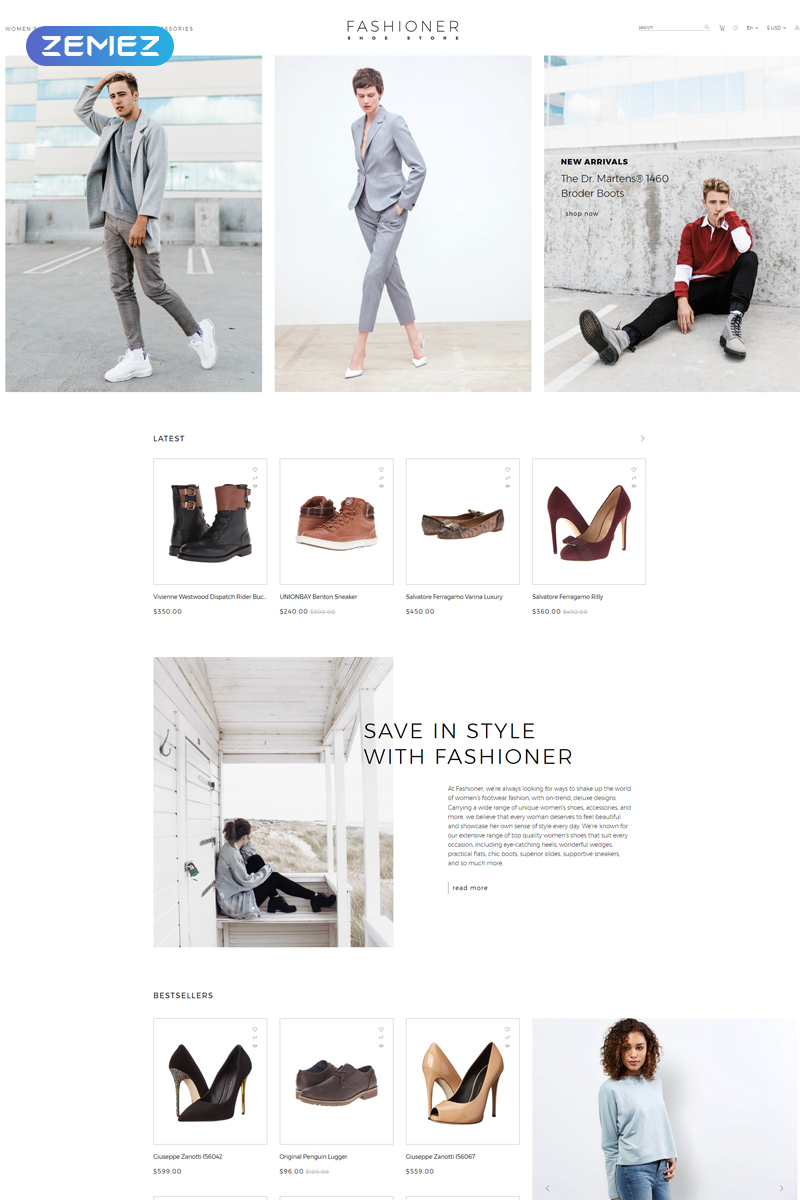 """""""Fashioner - shoes store"""" 响应式OpenCart模板 #80796 - 截图"""