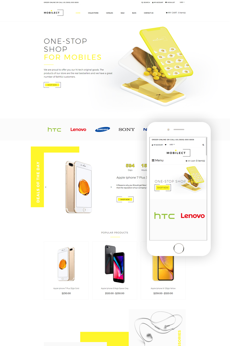 Mobilect - Mobile Store Multipage Clean Shopify Theme - screenshot
