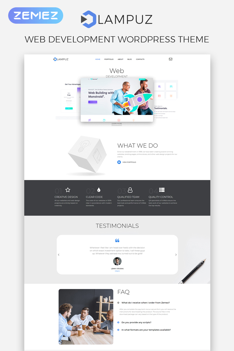 Responsivt Lampuz - Web Development Multipurpose Animated Elementor WordPress-tema #80709