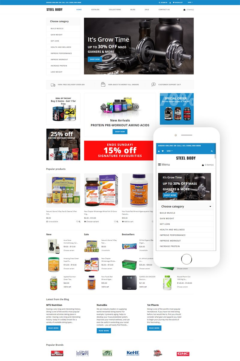 """Tema Shopify """"Steel Body - Sports Store E-commerce Clean"""" #80707"""