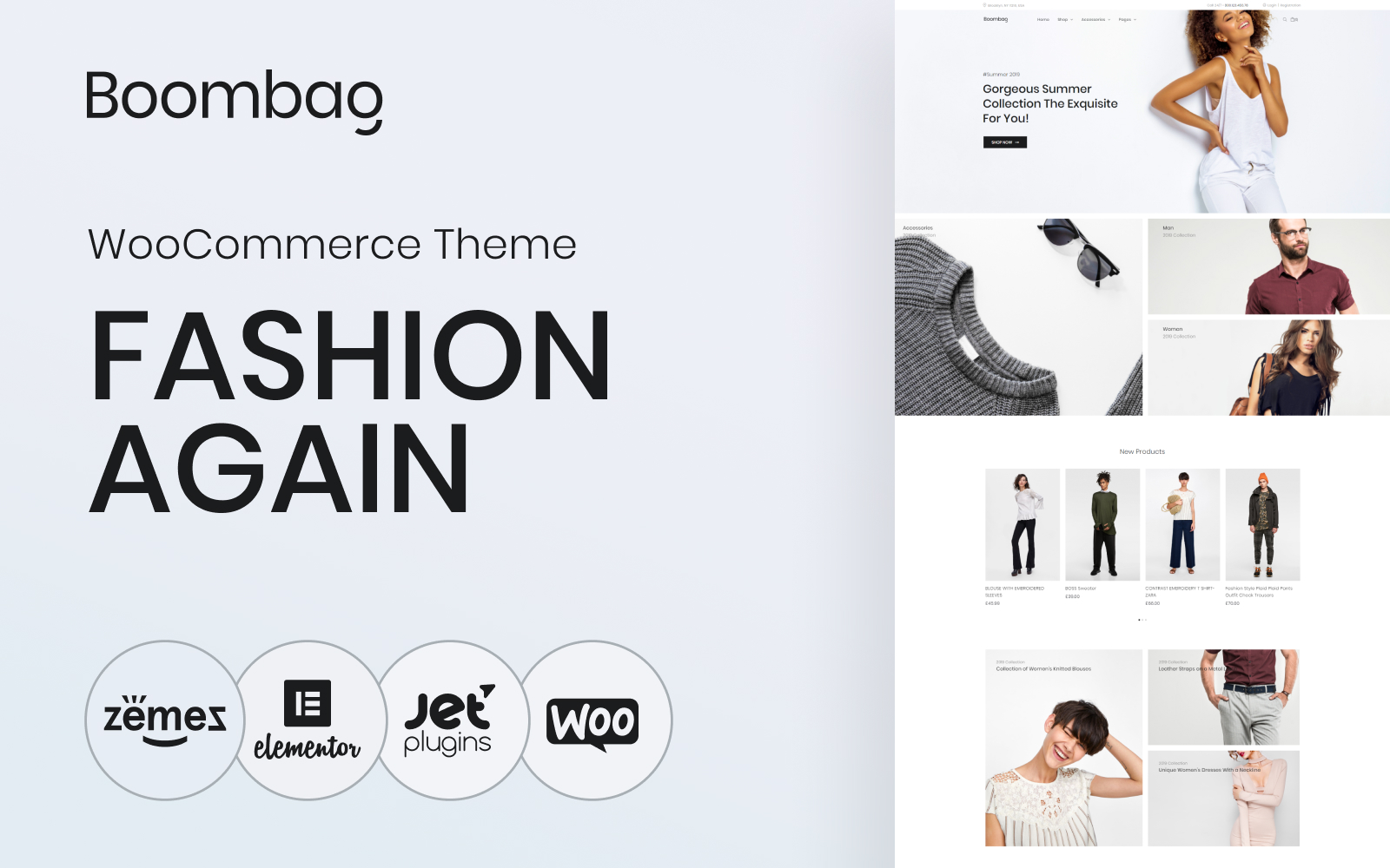 "Tema WooCommerce Responsive #80766 ""Boombag - Apparel ECommerce Modern Elementor"""