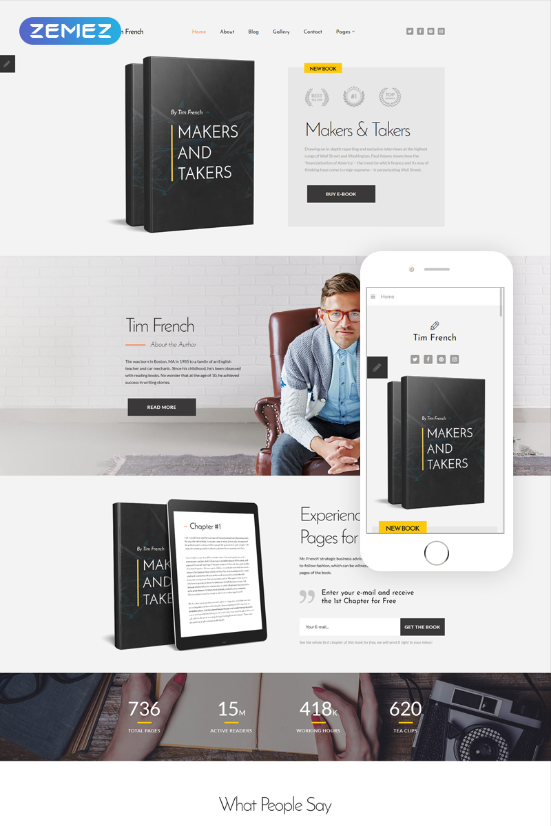 """Tim French - Personal Pages Modern"" 响应式Joomla模板 #80705"