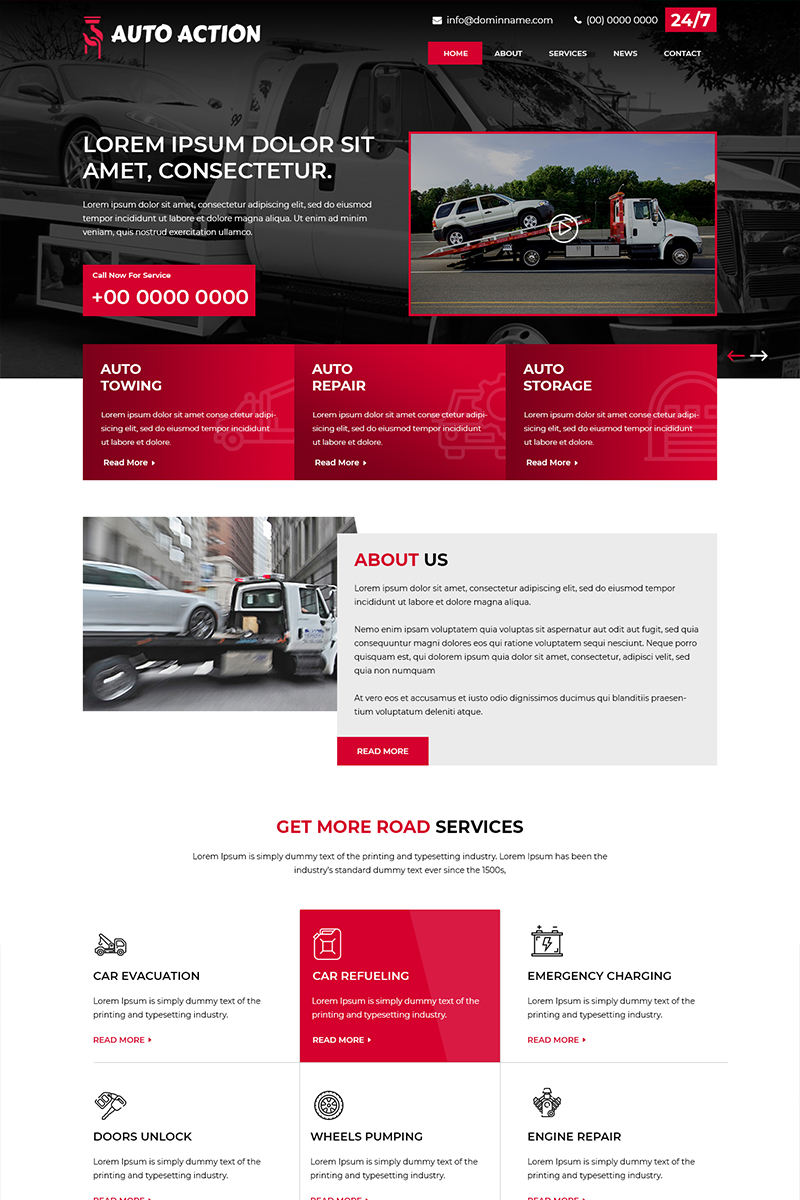 Auto Action - Towing Services PSD Template