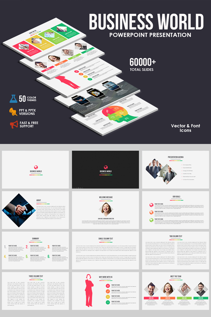 """Business World"" PowerPoint Template №80800"