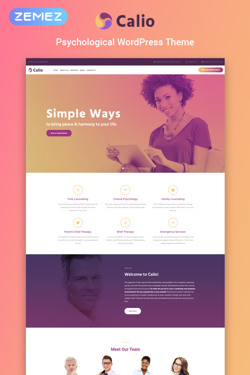 Calio - Psychology Multipurpose Modern Elementor WordPress Theme - screenshot