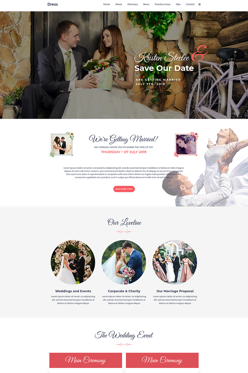 """Dress - Wedding"" - bootstrap PSD шаблон №80898"