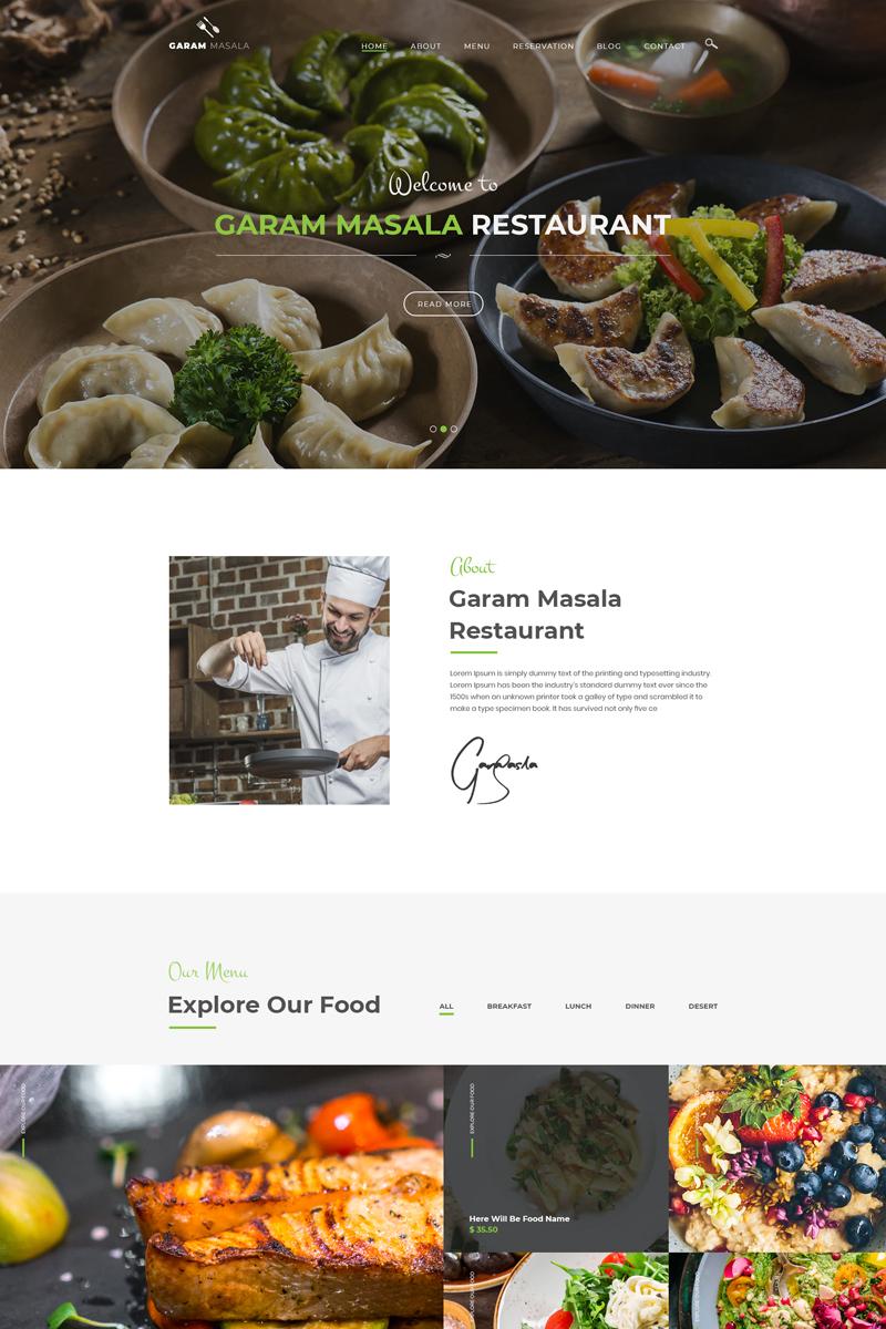 """Garam Masala Restaurants"" PSD Template №80844"