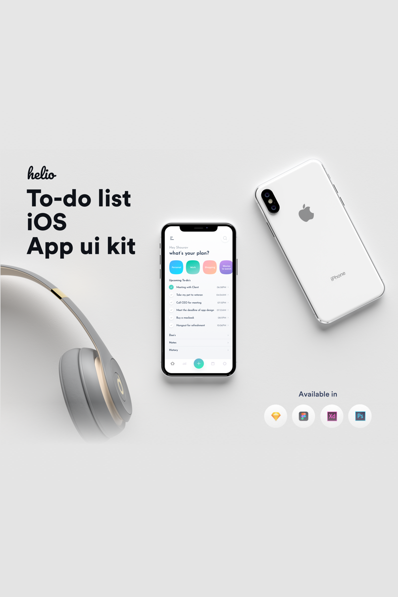 Helio to-do list iOS UI kit UI elemek 80825