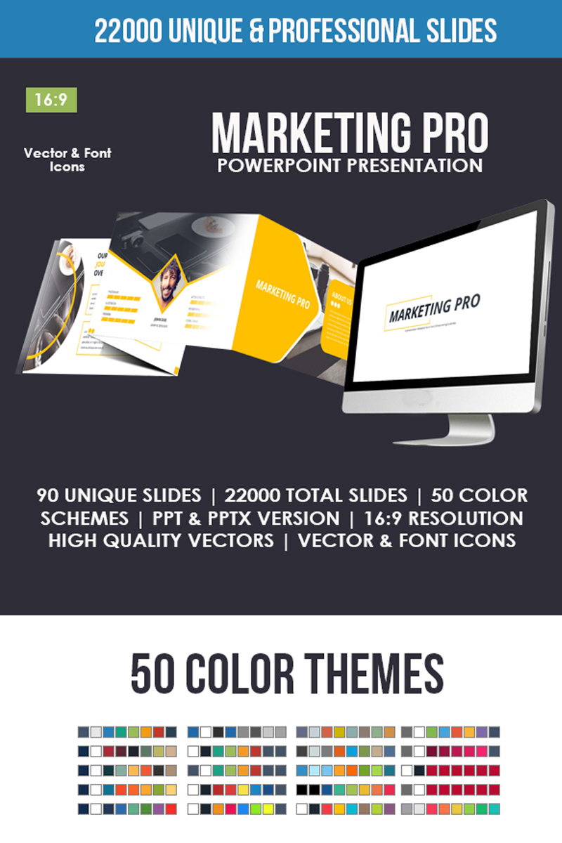 """Marketing Pro"" PowerPoint Template №80835"