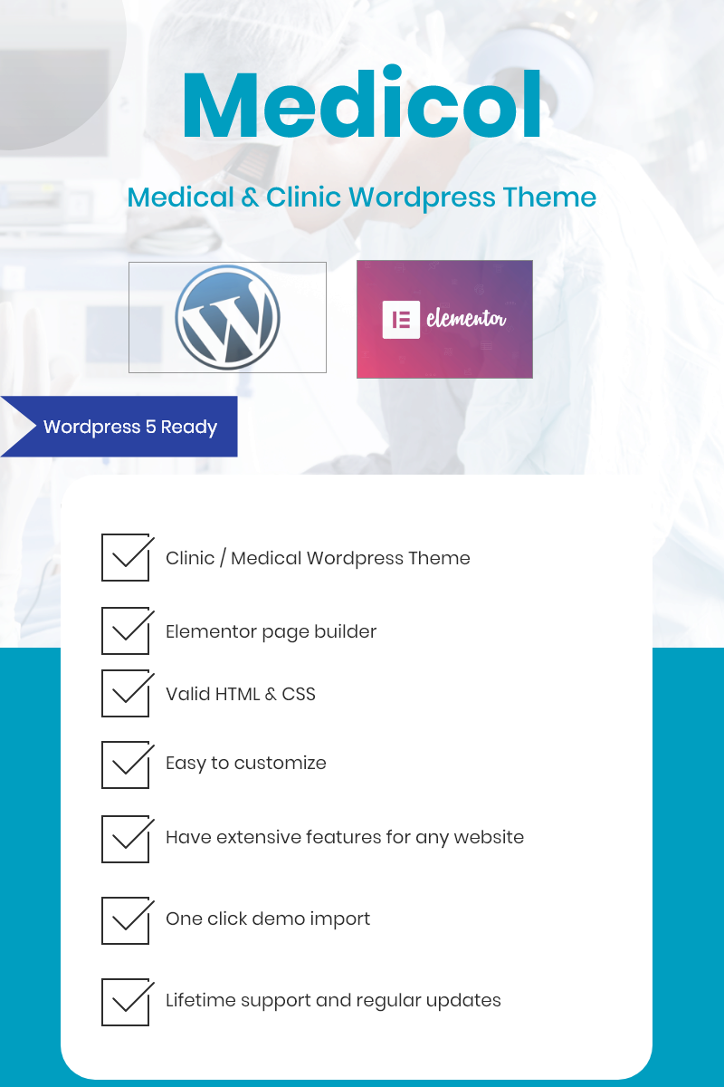 """Medicol - Elementor Bootstrap for Medical & Clinic"" 响应式WordPress模板 #80894"