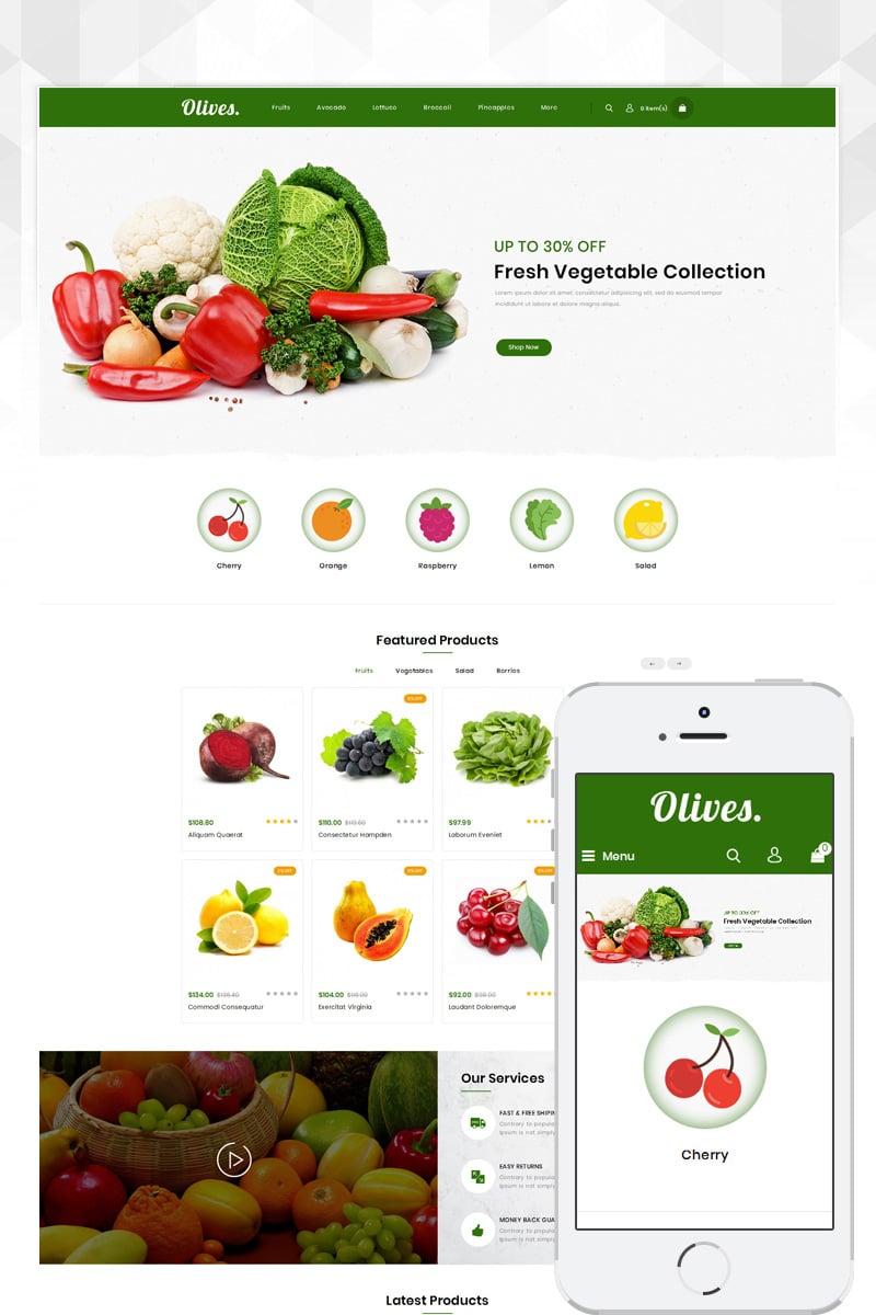 """Olives - Organic Store"" 响应式OpenCart模板 #80887"
