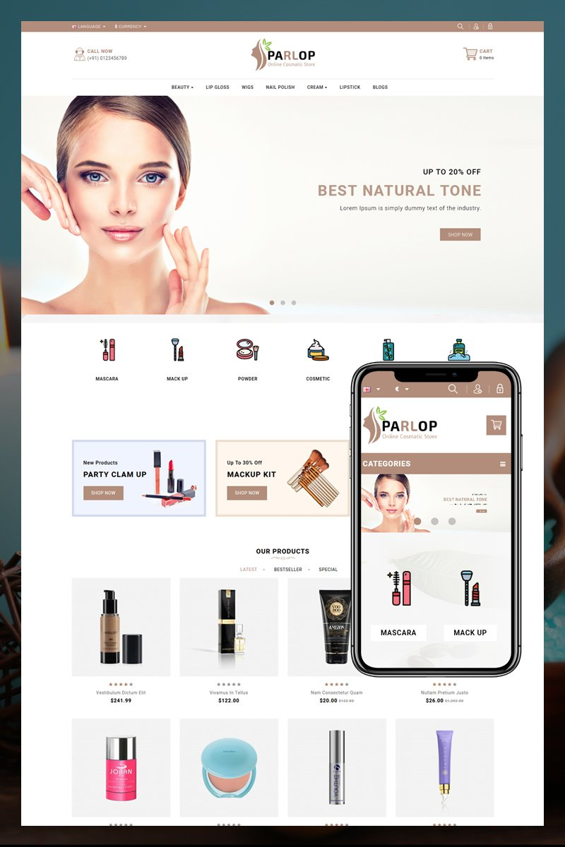 "Plantilla OpenCart ""Parlop Сosmetics Shop"" #80840"