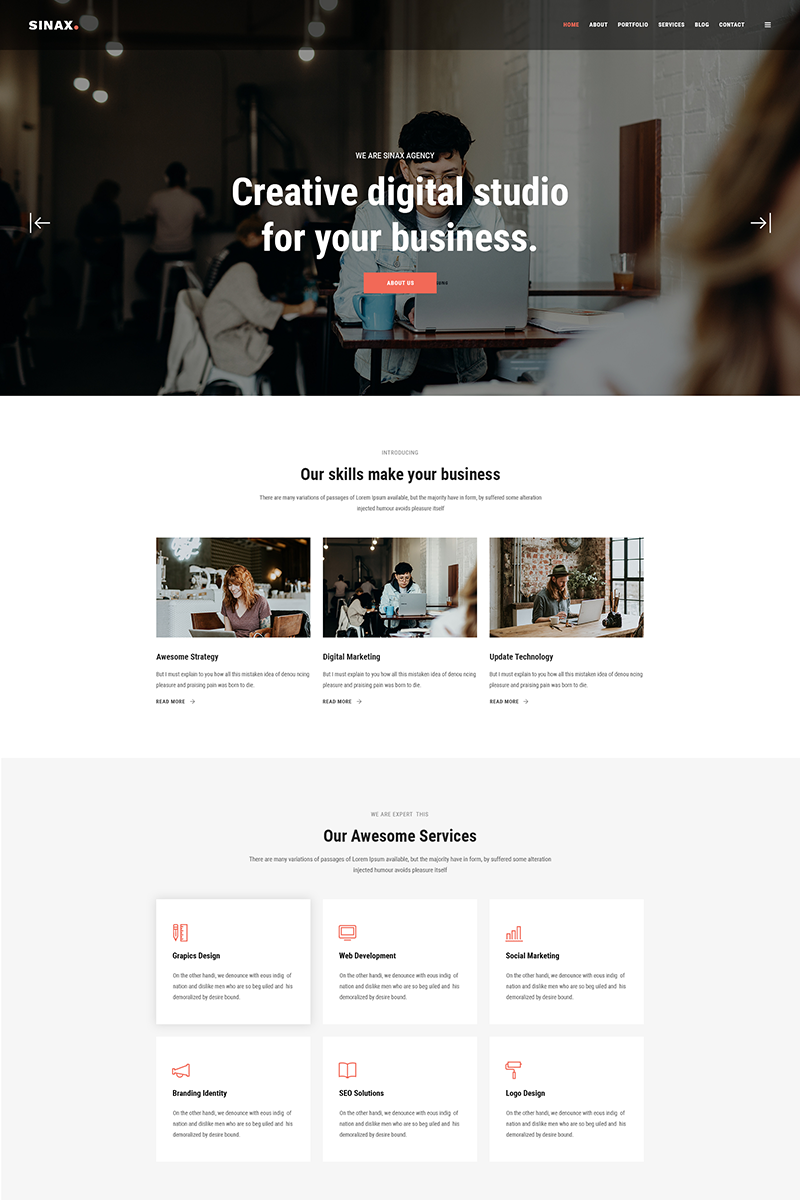 """Sinax - Corporate And Business"" modèle PSD Bootstrap #80843"