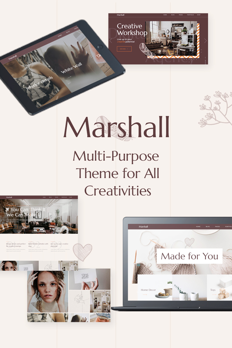 "Tema WordPress Responsive #80841 ""Marshall - A Creative Multipurpose"""