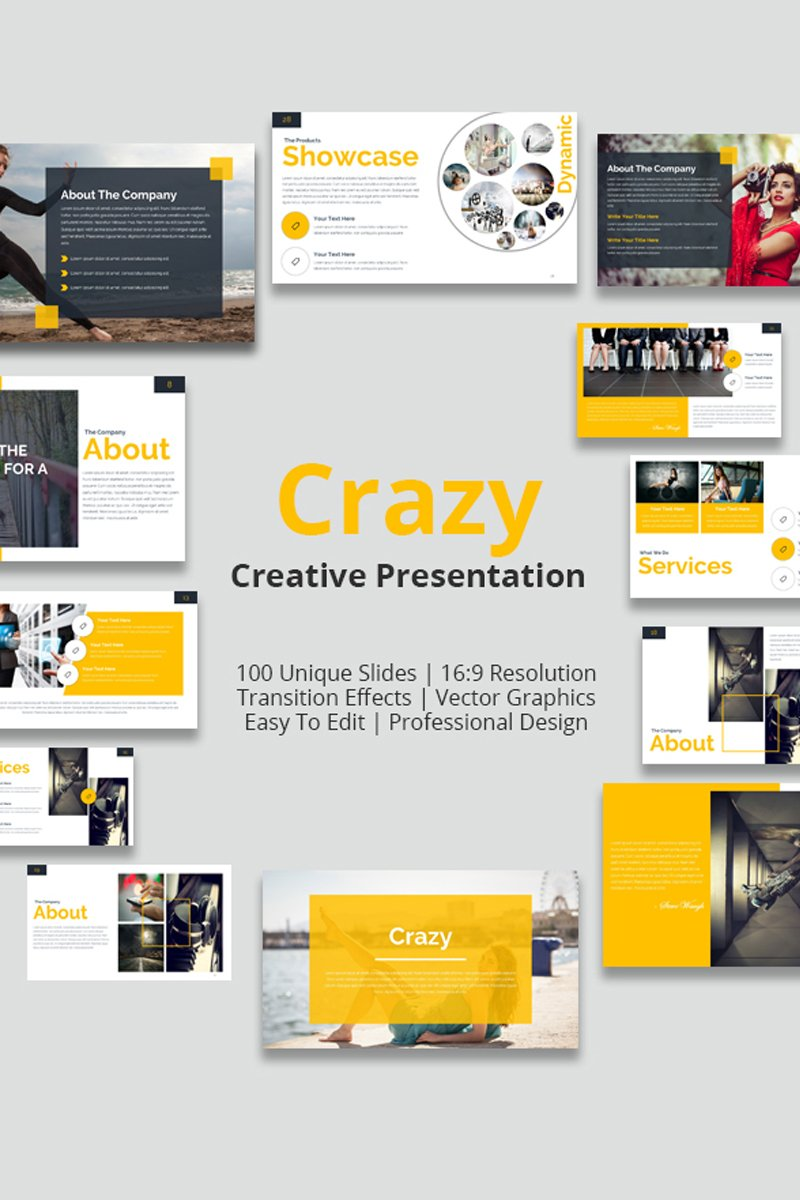 """Crazy"" PowerPoint Template №80936"