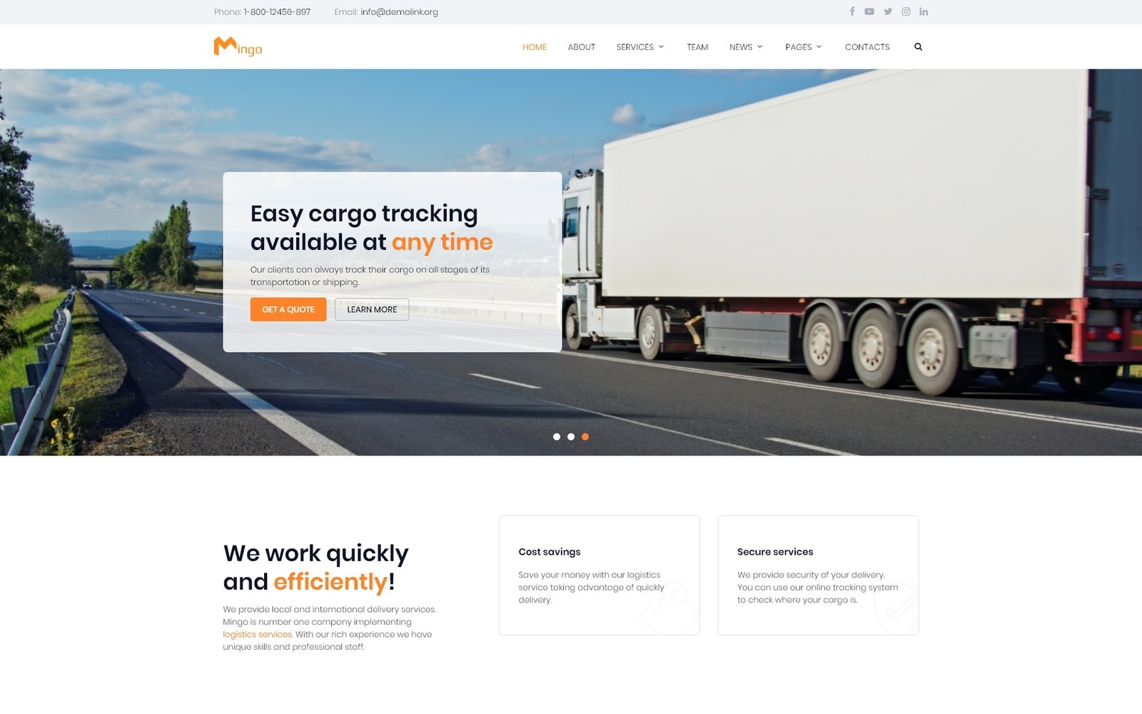 Mingo - Delivery Services Multipage Clean HTML Template Web №80995
