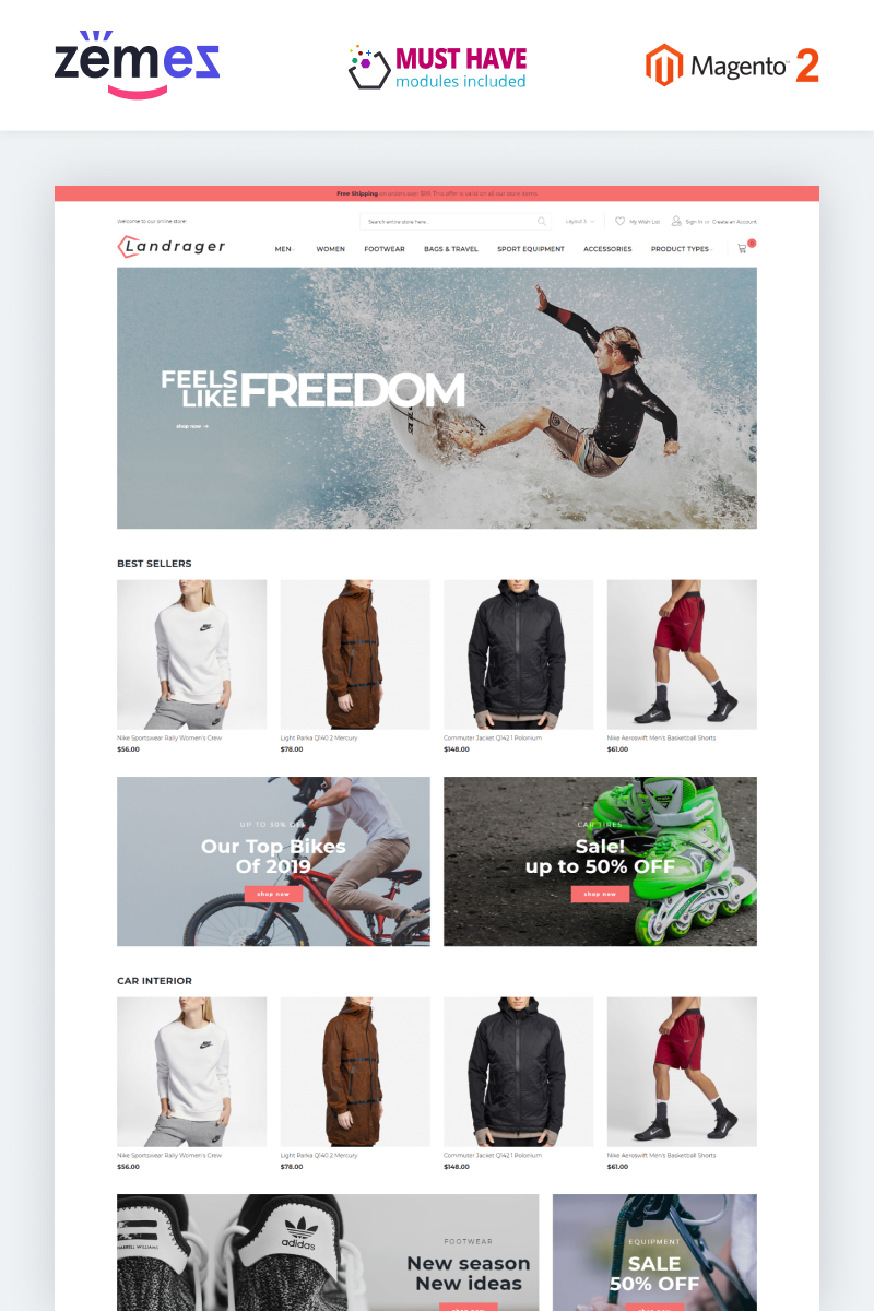 "Modello Magento Responsive #80993 ""Landrager - Extreme and Outdoor Sports eCommerce"""