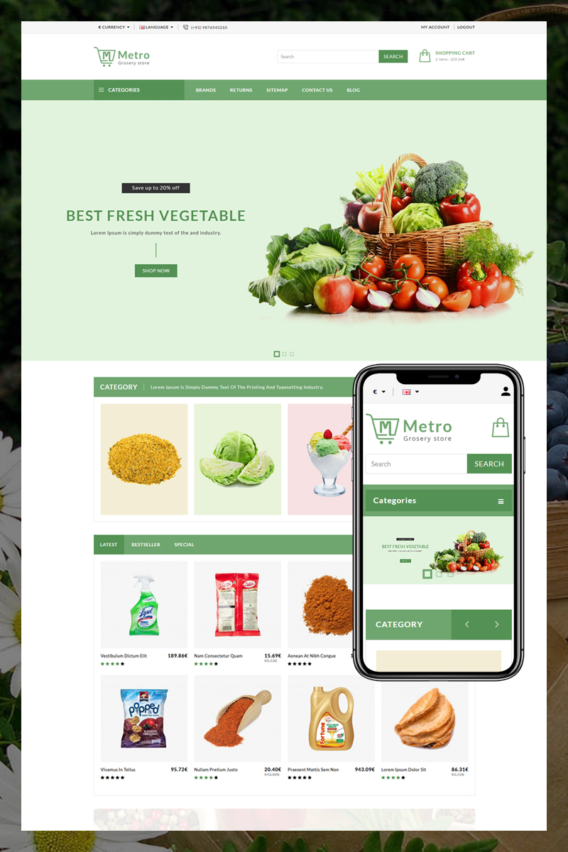 "Plantilla OpenCart ""Metro Grocery and Vegetables"" #80950"