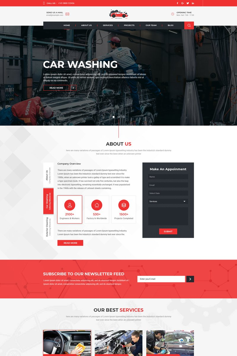 "Plantilla PSD ""Ferry - Carwash One Page"" #80907"