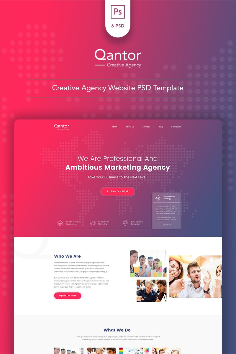 Qantor - Creative Agency Office PSD Template