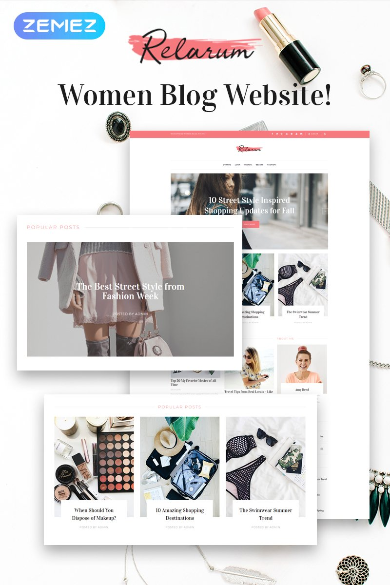 """Relarum - Women Blog Multipurpose Classic Elementor"" - адаптивний WordPress шаблон №80997"