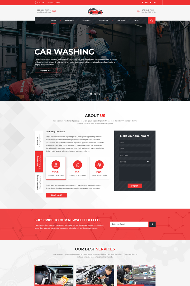Responsive Ferry - Carwash One Page Psd #80907