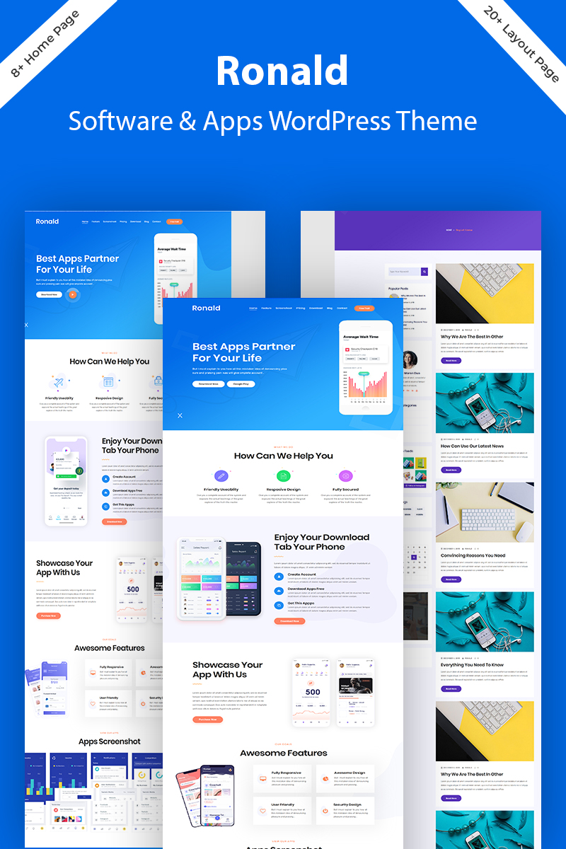 """Ronald - Software & App Landing"" - адаптивний WordPress шаблон №80975"