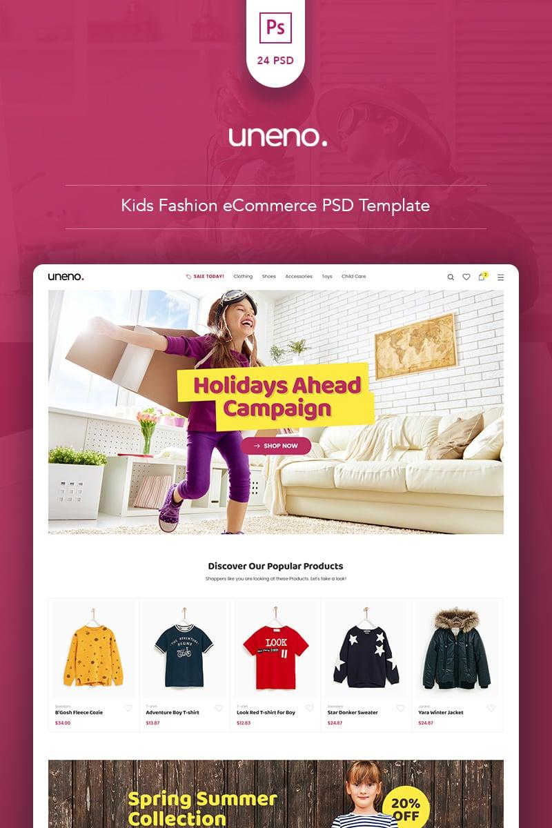 "Template PSD #80926 ""Uneno - Kids Fashion eCommerce"""
