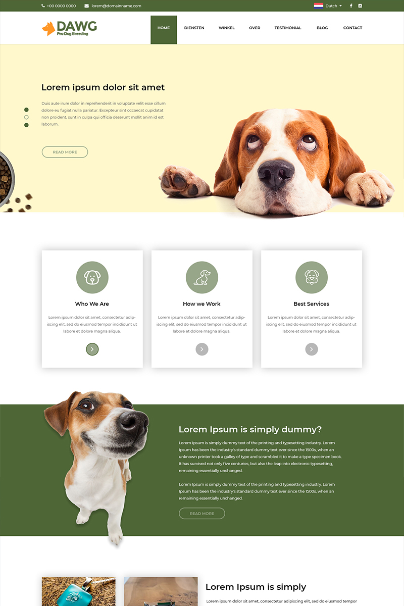"""Template PSD #80968 """"DAWG - Dog Care"""""""