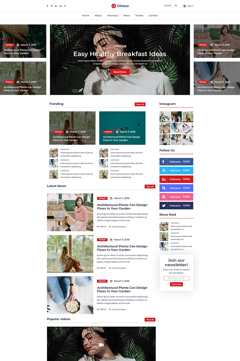 """Ugliness- News & Magazine Blogger"" - bootstrap PSD шаблон №80939"