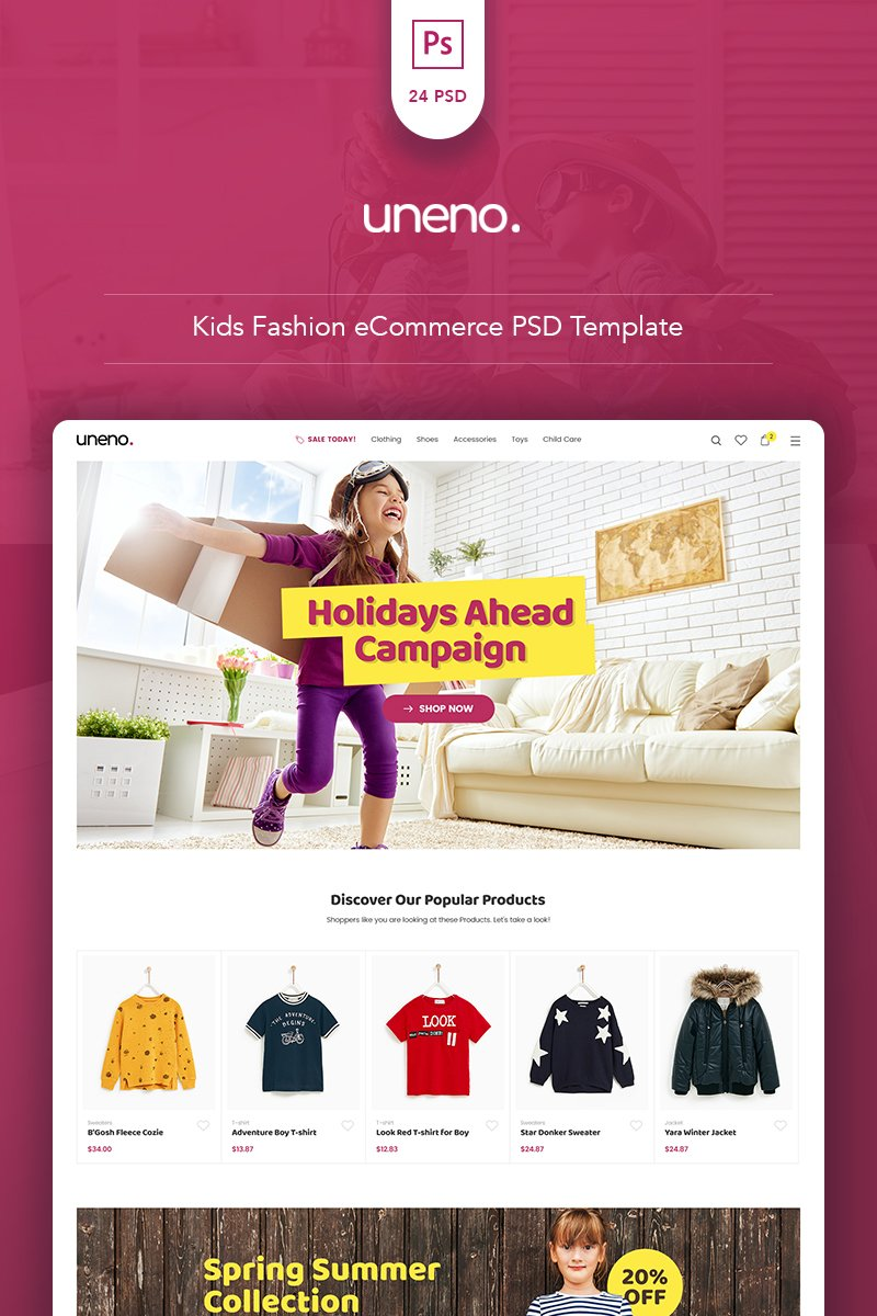 Uneno - Kids Fashion eCommerce PSD Template