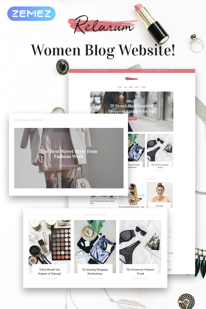 "WordPress Theme namens ""Relarum - Women Blog Multipurpose Classic Elementor"" #80997 - Screenshot"