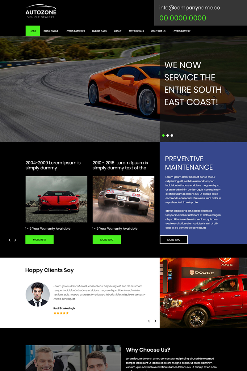 """Autozone - Car Dealers PSD Template"" modèle PSD  #81004"