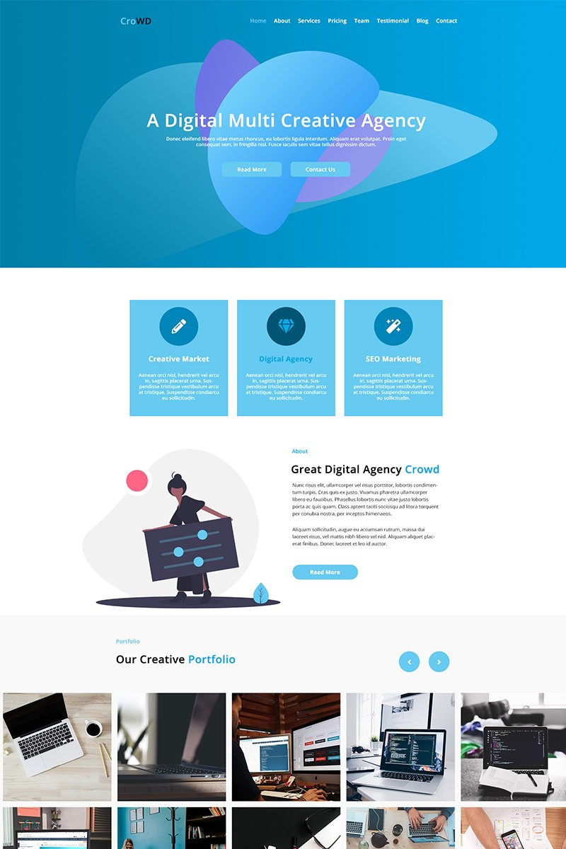 CroWD - One Page Multi-Purpose Creative Agency PSD-sjabloon