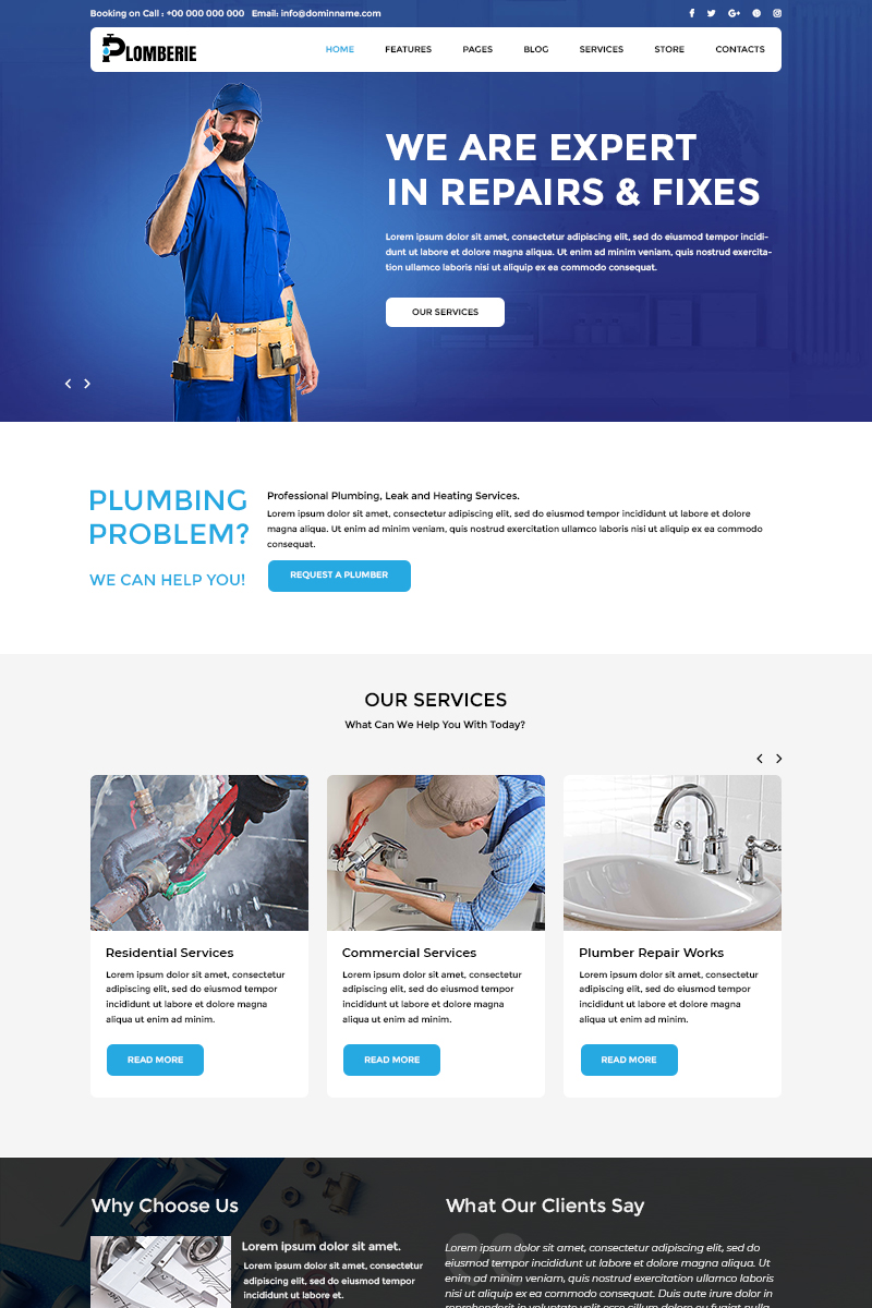 "PSD šablona ""Plomberie - Plumbing"" #81037 - screenshot"