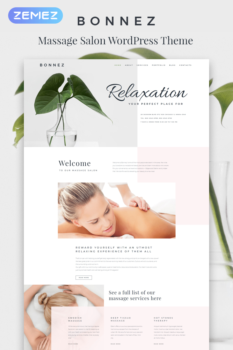 Responsivt Bonnez - Massage Salon Ready-to-Use Minimal Elementor WordPress-tema #81041