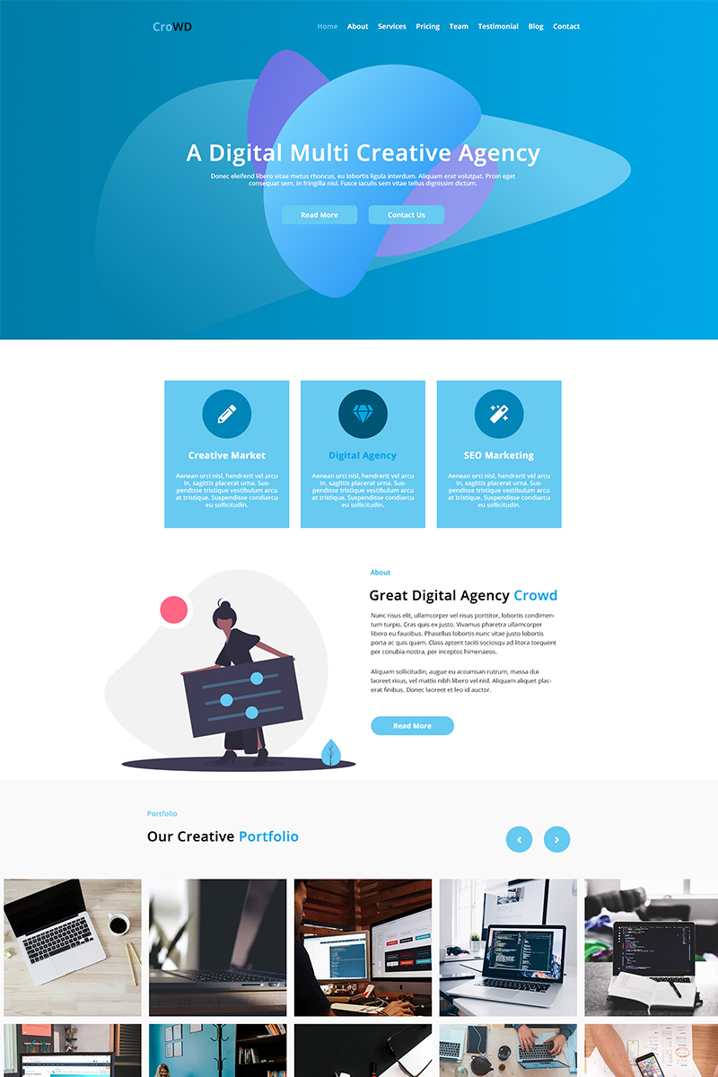 Reszponzív CroWD - One Page Multi-Purpose Creative Agency PSD sablon 81008