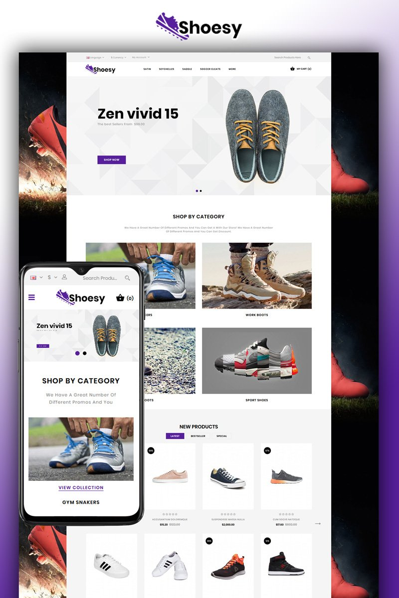 """Shoesy - Shoes Store"" thème OpenCart adaptatif #81010 - screenshot"