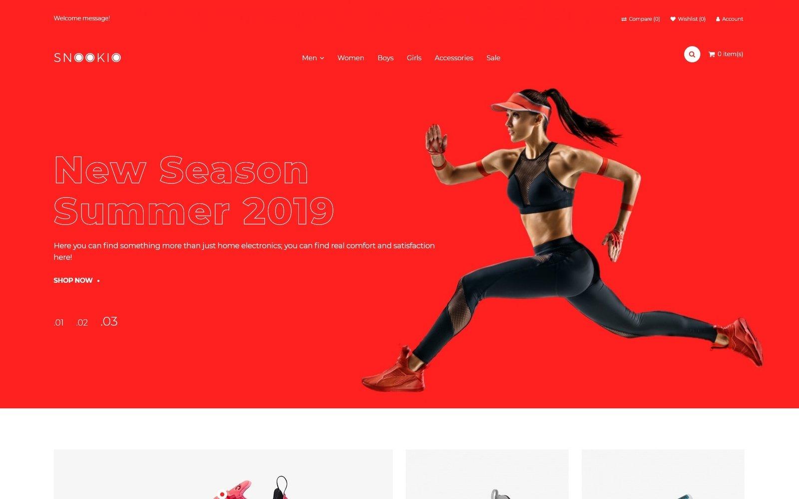 """Snookio - Shoe Store eCommerce Clean"" 响应式OpenCart模板 #81084 - 截图"