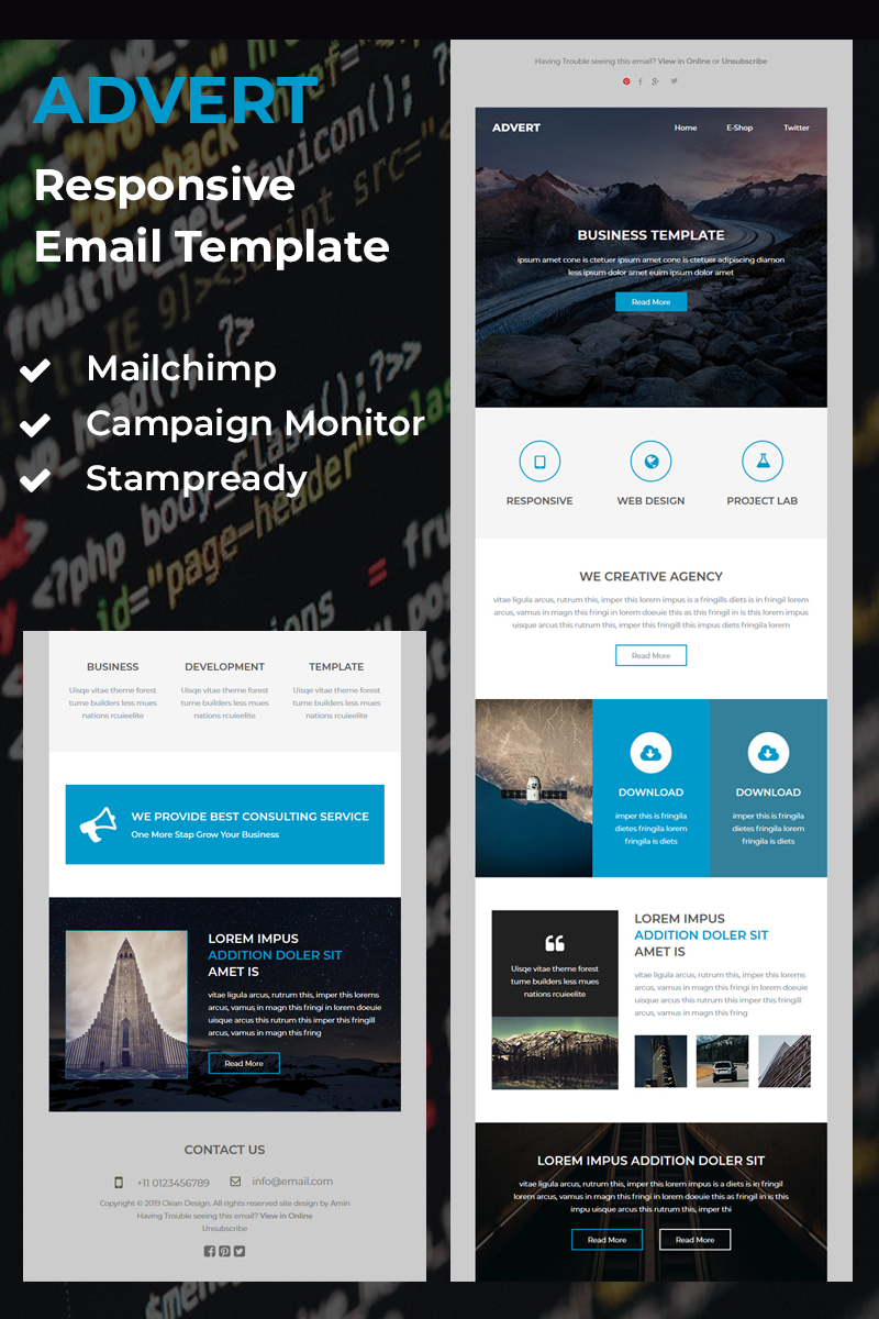 Advert - Responsive email template Newsletter-mall #81159