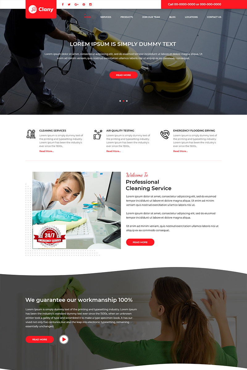 Clany - Cleaning Service PSD Template