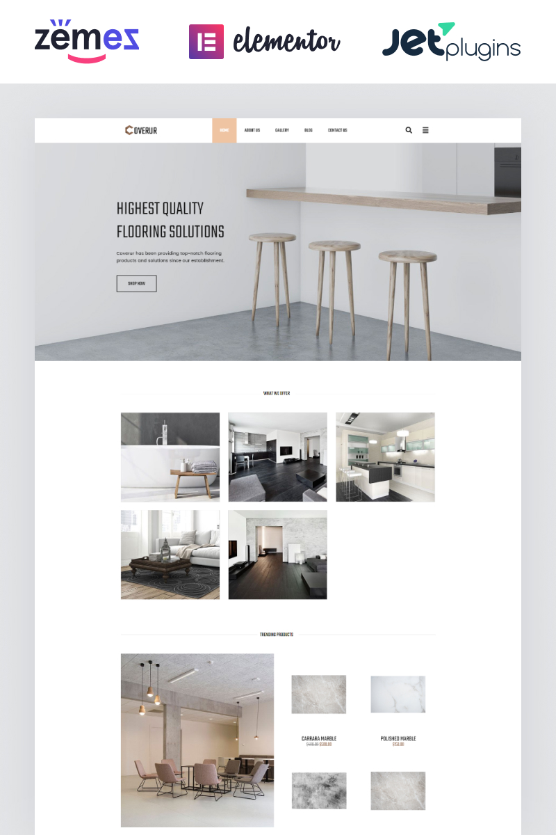 """Coverur - Flooring Company Multipurpose Minimal Elementor"" Responsive WordPress thema №81169"